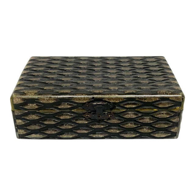 French Art Deco Herringbone Celluloid Box For Sale