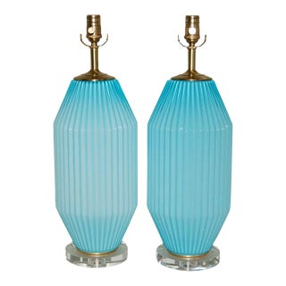 Pair of Vintage Blue Murano Art Deco Glass Table Lamps For Sale