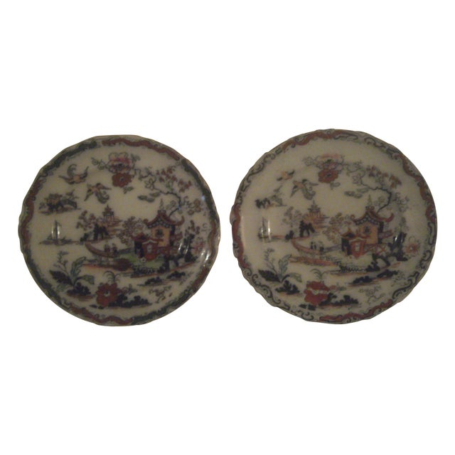 Antique Polychrome Decorated Plates - A Pair - Image 1 of 7
