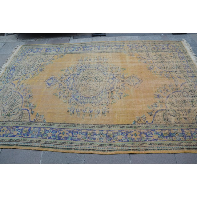 """Oversize Oushak Antique Faded Rug - 6'2"""" x 9'2"""" For Sale - Image 4 of 6"""