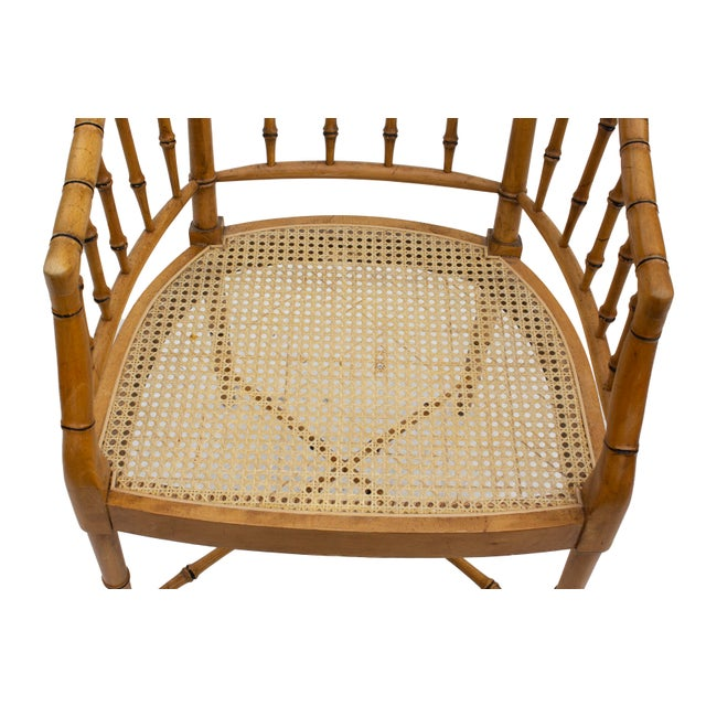 Faux Bamboo Armchair With Caned Seat For Sale - Image 9 of 10