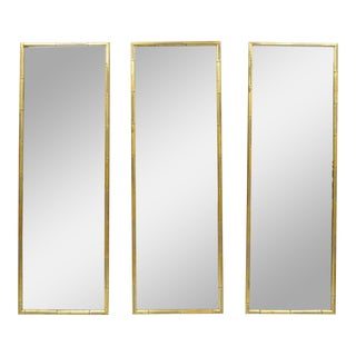 Vintage Italian Hollywood Regency Faux Bamboo Wall Mirrors-Set of 3 For Sale