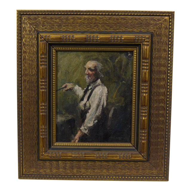Late 20th Century Vintage Elderly Man Portrait Painting For Sale