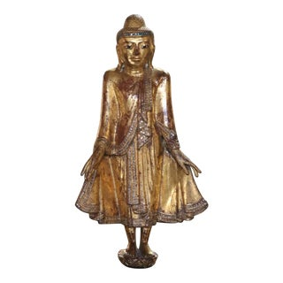 Carved Wood Standing Buddha Sculpture For Sale
