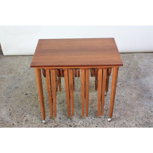 Brown Set of Teak Serving Tables after Bertha Schaefer For Sale - Image 8 of 10