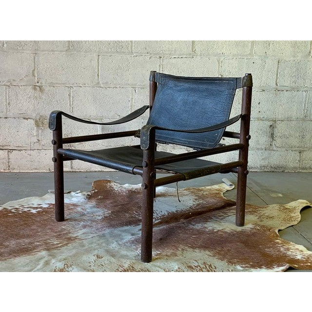 Authentic + Rare Mid Century Modern Leather Safari Chair by Arne Norell, Made in Sweden For Sale - Image 11 of 11