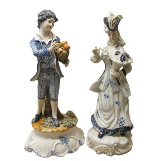 Capodimonte Blue & White Porcelain Figures, Set of 2 For Sale