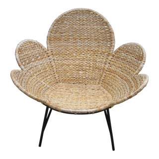 1960s Boho Chic Bamboo Rattan Flower Petal Lounge Chair