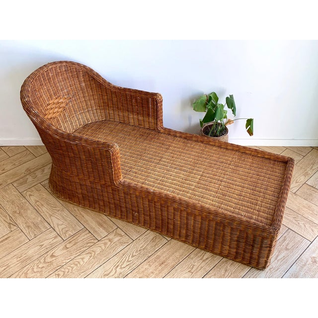Wicker 1990s Vintage Wicker Chaise For Sale - Image 7 of 11