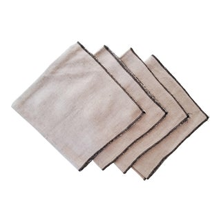 Natural Linen Napkins in Tan Beige With Black Overlock Edge - Set of 4 For Sale