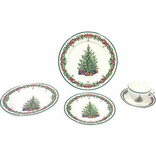 Christmas Tree Holiday Place Setting - Five Pieces For Sale
