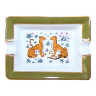 Vintage Hermes Porcelain Les Leopards Ashtray / Catchall For Sale