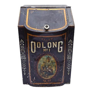 Antique Metal Oolong Tea Storage Bin For Sale