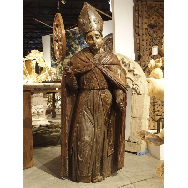 Large Antique Polychromed Wood Statue of a Bishop, Circa 1650 For Sale - Image 12 of 12