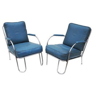 Art Deco Chrome Chairs by Kem Weber for Lloyd, 1930's For Sale