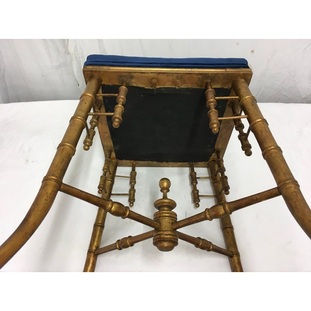Blue Antique Faux Bamboo Stool For Sale - Image 8 of 11