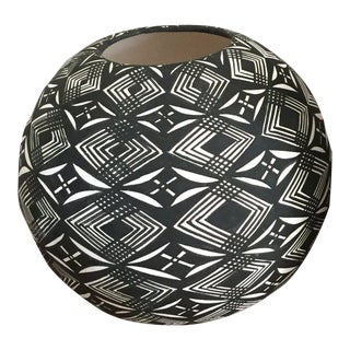 Graphic Black and White Native American Seed Pot, Acoma