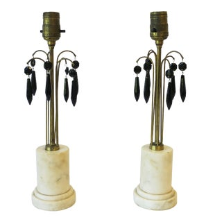 Italian Marble and Black Crystal Table Lamps - a Pair For Sale