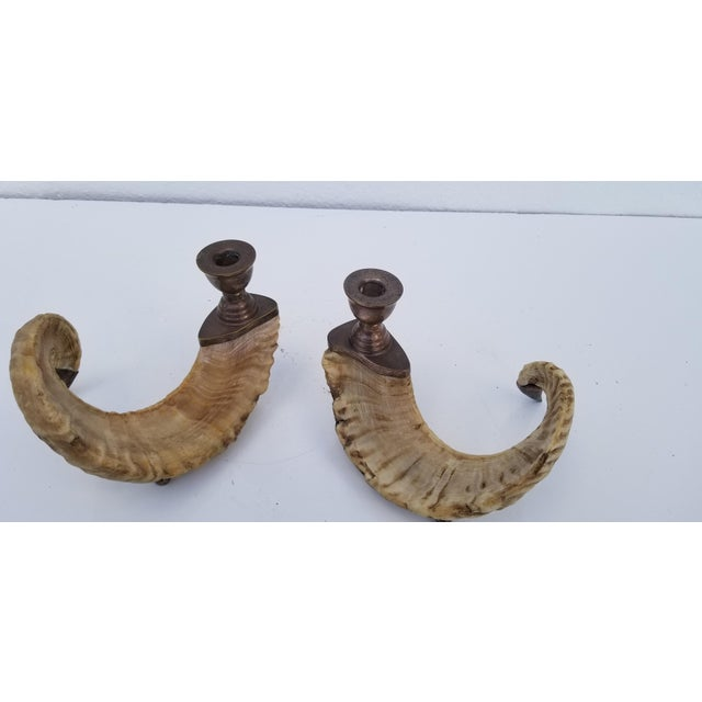 1960s 1960s Vintage Ram's Horns and Silver Bronze Candleholders- A Pair For Sale - Image 5 of 10