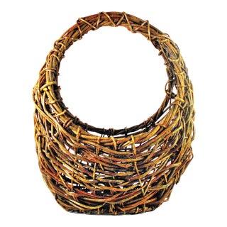 Vintage Hand-Crafted Vine Display Basket / Tote For Sale