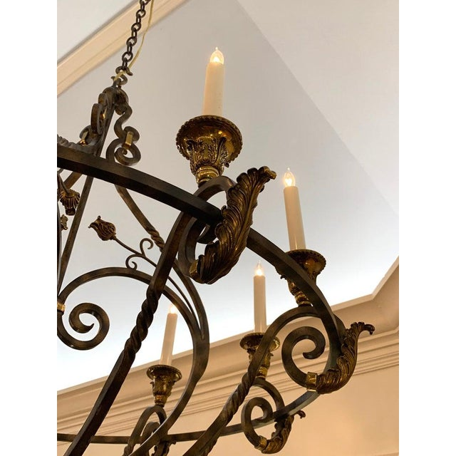 Maitland - Smith Neoclassical Wrought Iron & Brass Orb 8-Light Chandelier, by Maitland Smith For Sale - Image 4 of 7