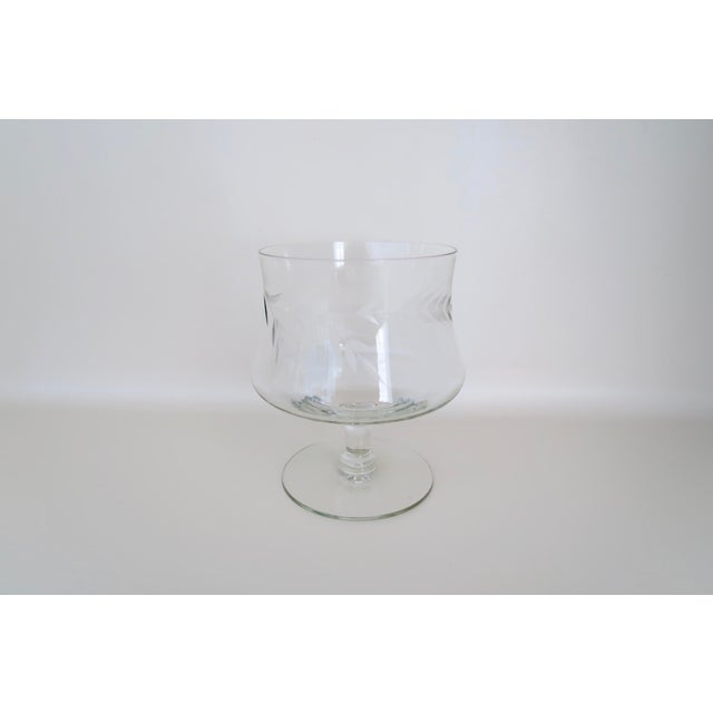 """Set of 6 vintage clear glass footed dessert cups/champagne coupes. Floral etching in the glass. Each measures 4 3/4"""" tall..."""