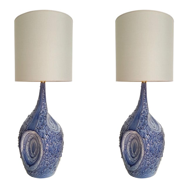 Signed Large Blue Ceramic Italian Lamps, 1980s Mediterranean Style - a Pair For Sale