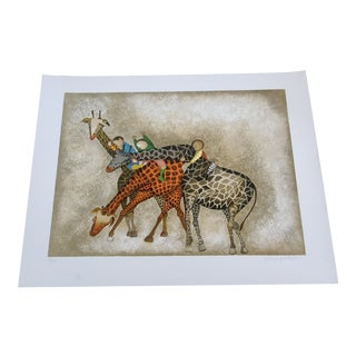 Original Graciela Rodo Boulanger Giraffe Lithograph Numbered & Pencil Signed by Artist For Sale