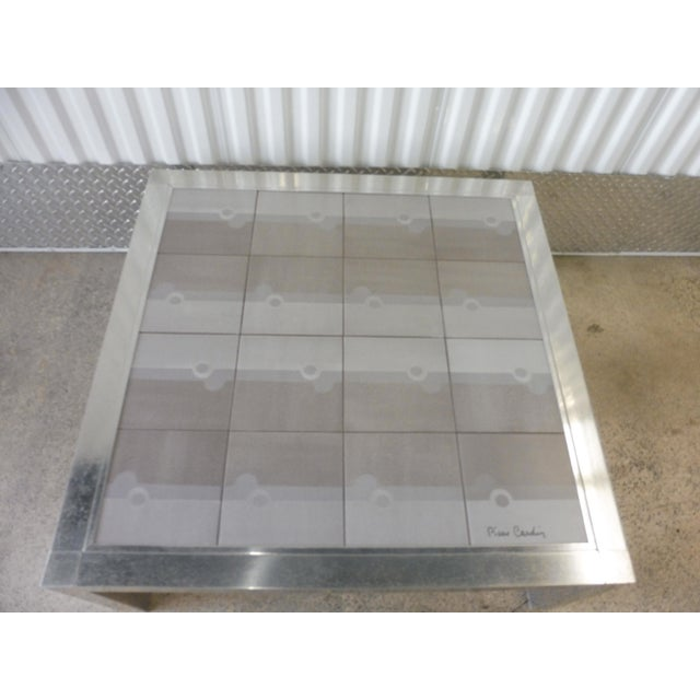 Large 1970's Pierre Cardin Mod Tile Top Aluminum Coffee Table For Sale In Miami - Image 6 of 8