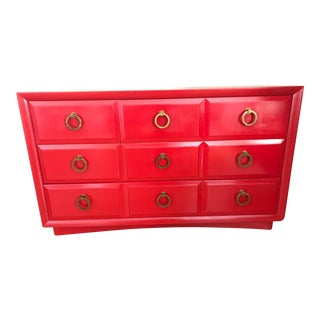 1950s Mid Century Modern t.h Robsjohn Gibbings Chinese Red Chest For Sale
