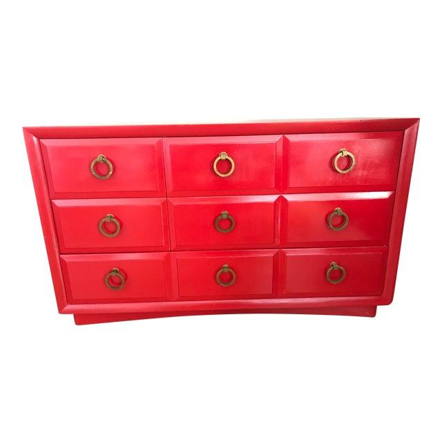 1950s Mid Century Modern t.h Robsjohn Gibbings Chinese Red Chest For Sale
