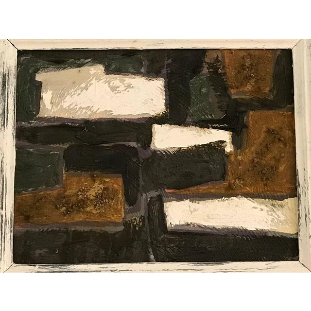 Cotswold Landscape no. 3 by Lyon Oliver, British. Natural earth pigments (with Cotswold soil) on board.