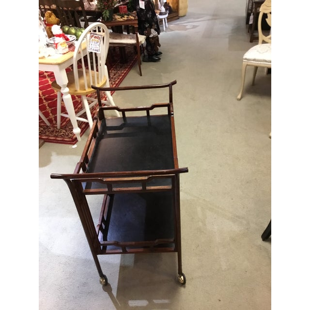 Asian Vintage Rosewood Bamboo Tea Cart For Sale - Image 3 of 4
