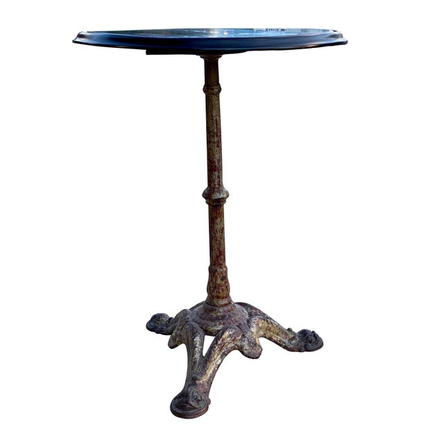 Mid-Century Modern Cast Iron and Ebonized Wood Pub Table For Sale - Image 3 of 9