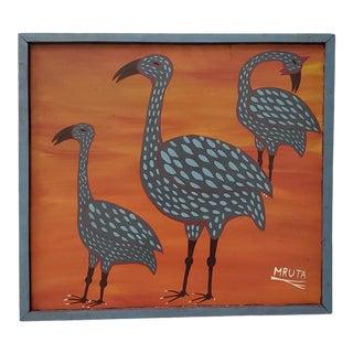 """Mruta Hashim Bushiri (Tanzanian, 1937-1998) """"Three Birds"""" Original Painting C.1970s For Sale"""