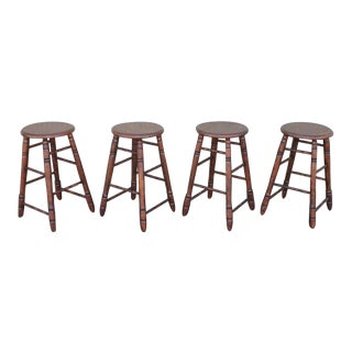 Set of Four Matching Bar Stools For Sale