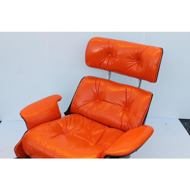 Mid-Century Modern Orange Leather Recliner - Image 10 of 11