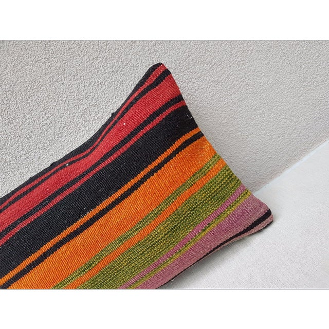 Contemporary Turkish Kilim Lumbar Pillow For Sale - Image 3 of 7