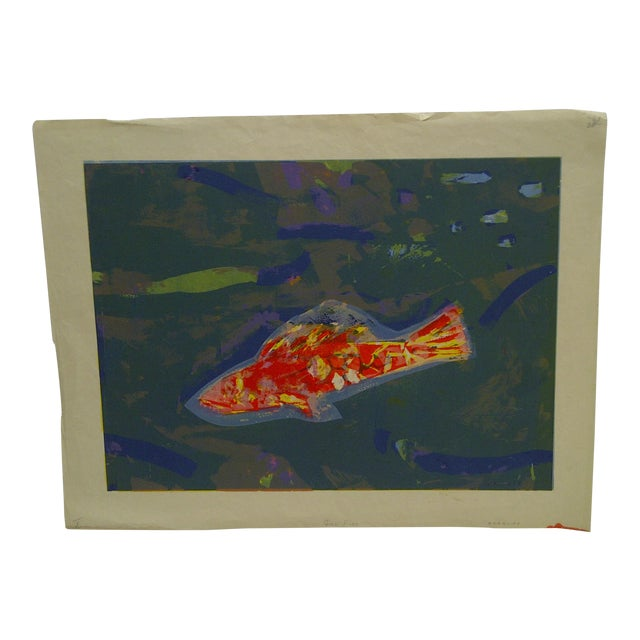 """Limited Edition -- Signed Numbered (X) Print -- Titled """"Gold Fish"""" -- by Okamura For Sale"""