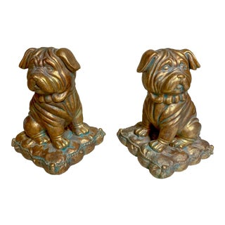 Pair of Borghese Gilt Pug Dog Bookends For Sale