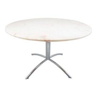 Vintage Chrome With Marble Top Pedestal Table Made in Italy For Sale