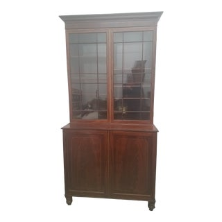 Antique English Bookcase Cupboard - Mahogany With Marquetry For Sale