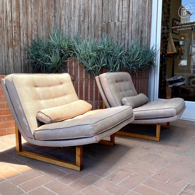 Vintage Milo Baughman style Lounge Chair Pair Original Pinstripe Upholstery (sun-faded - see detail photo) Modern Design...