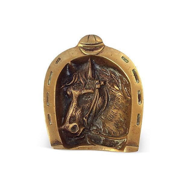 English equestrian horse and horseshoe brass catchall. Purchased in England.