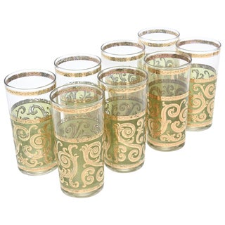 Mid-Century Modern Signed Culver Glasses- Set of 8 For Sale