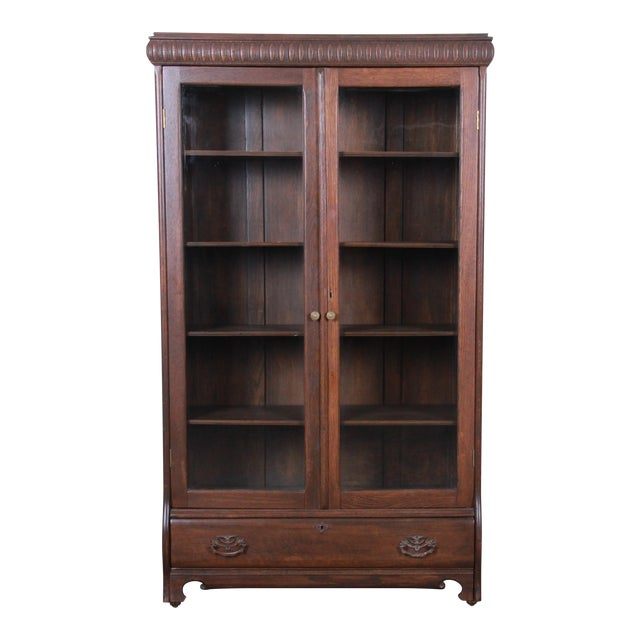 Antique Carved Oak Glass Front Locking Bookcase For Sale