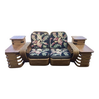 Paul Frankl Inspired Rattan Chair Loveseat and Side Tables - Set of 3