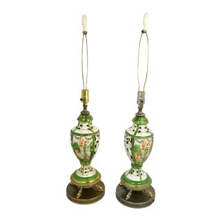 Hand-Painted Italian Capo DI Monte Lamps, Pair For Sale