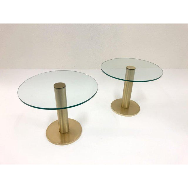 1970s Pace Collection Satin Brass and Glass Side Tables - a Pair For Sale - Image 5 of 7