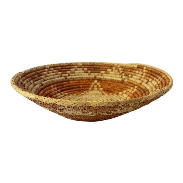 Vintage Mid-Century Woven Basket For Sale